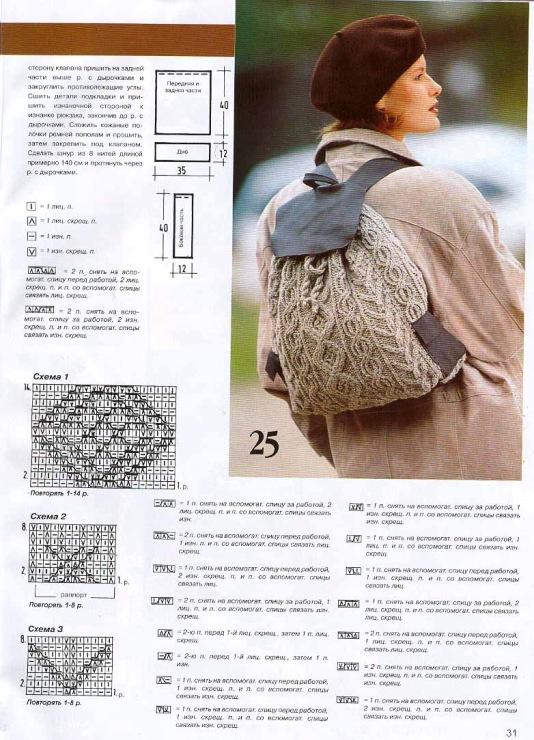 Вязание рюкзака с описанием