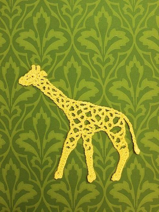 Аппликации крючком-жираф схема